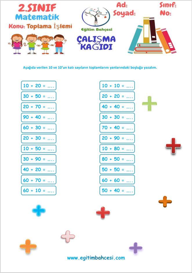 2.Sınıf Matematik Toplama İşlemi Etkinlikleri Örnek Sayfa