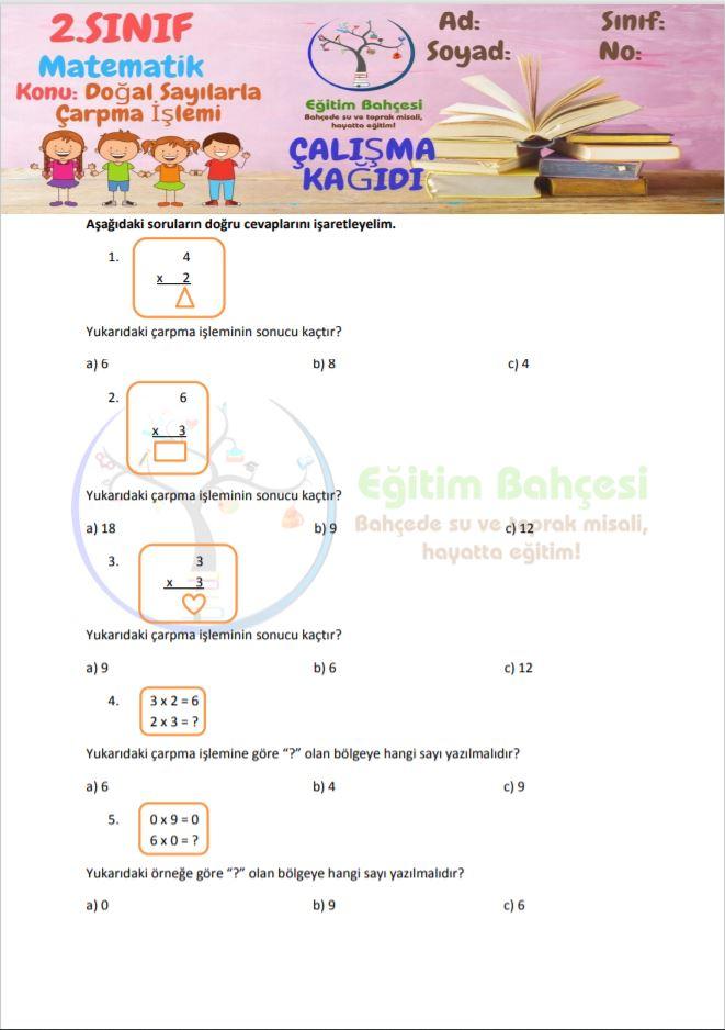 ÇARPMA İŞLEMİ 2.Sınıf Örnek Sayfa