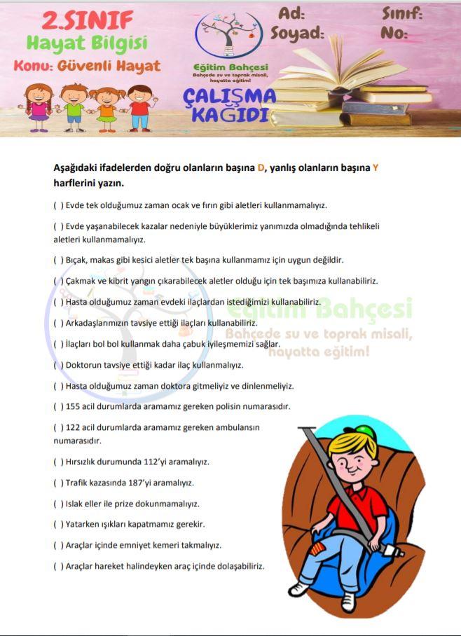 Güvenli Hayat Etkinlikleri Örnek Sayfa