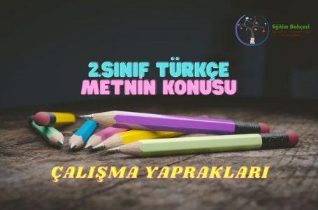 2.Sınıf Türkçe Metnin Konusu Çalışma Yaprakları