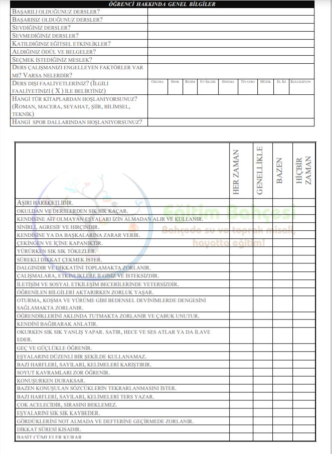 Öğrenci Tanıma Formu Sayfa 2