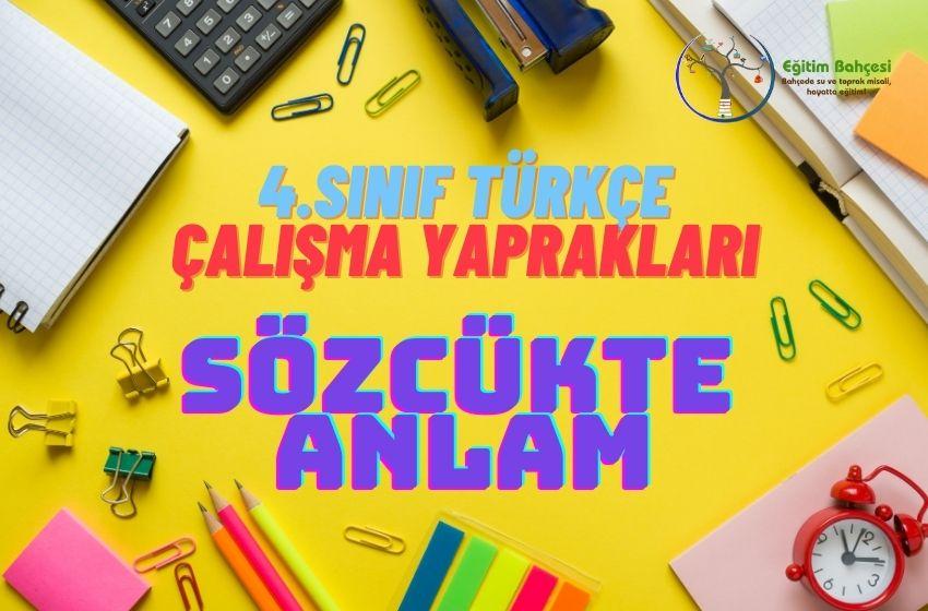 4.Sınıf Türkçe Sözcükte Anlam Çalışma Yaprakları
