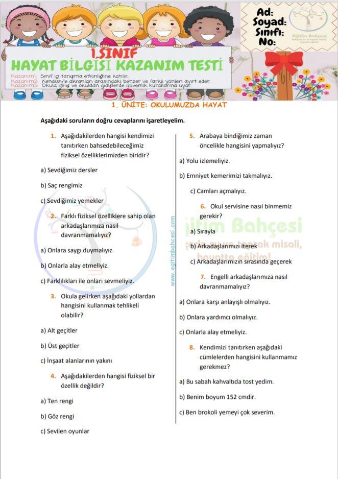 1.Sınıf Hayat Bilgisi 1. Kazanım Testi Örnek Sayfa