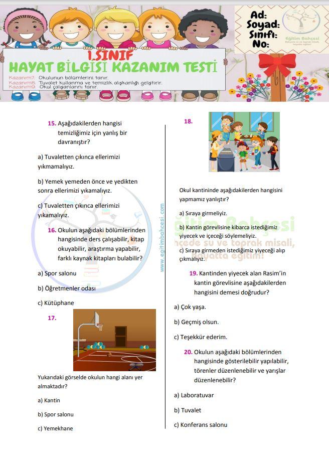 1.Sınıf Hayat Bilgisi Kazanım Testi-3 Örnek Sayfa