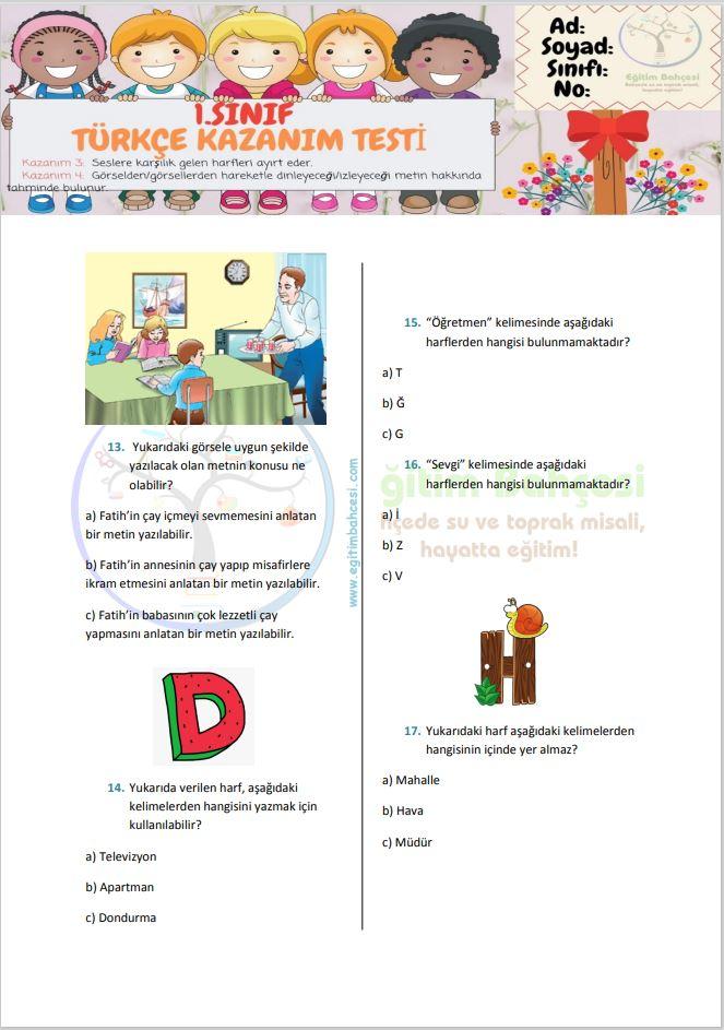 1.Sınıf Kazanım Testi-2 Örnek Sayfa