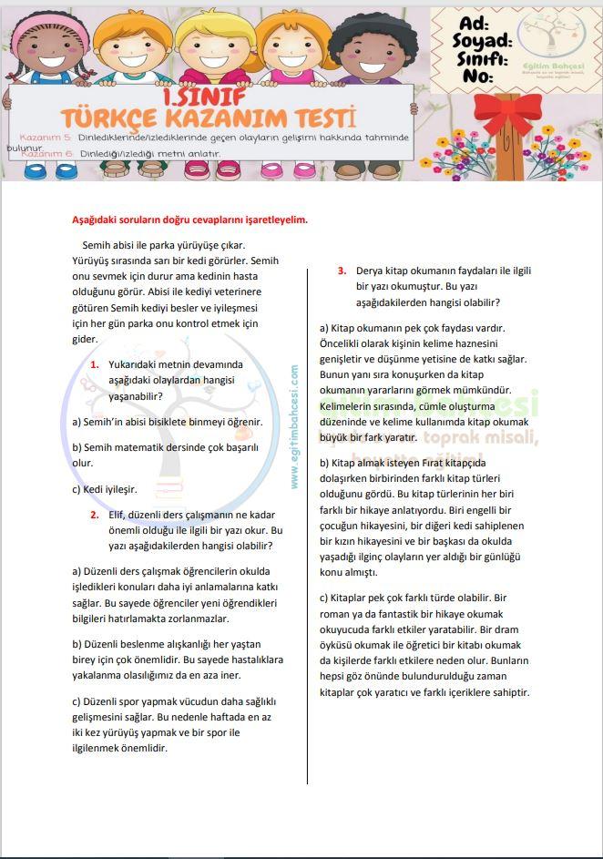 1.Sınıf Kazanım Testi-3 Örnek Sayfa