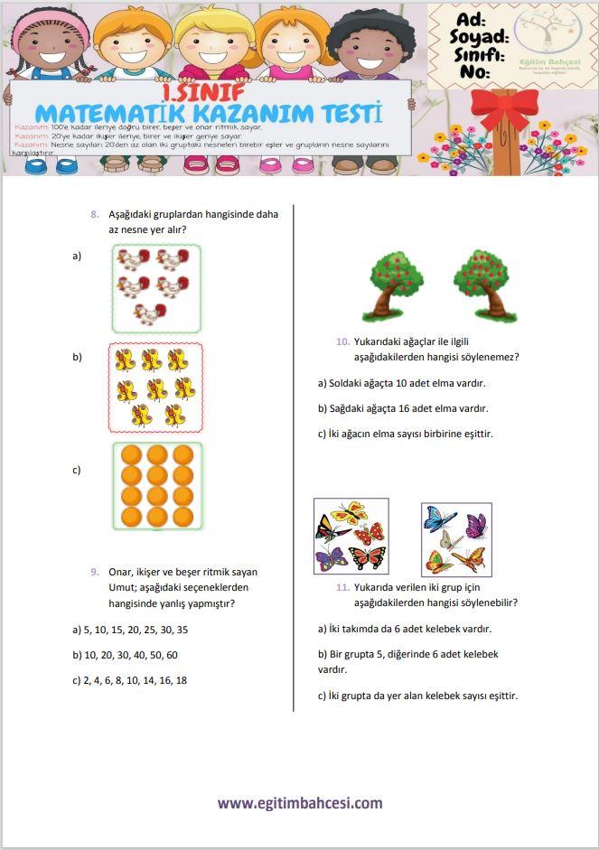 1.Sınıf Matematik Kazanım Testi-2 Örnek Sayfa