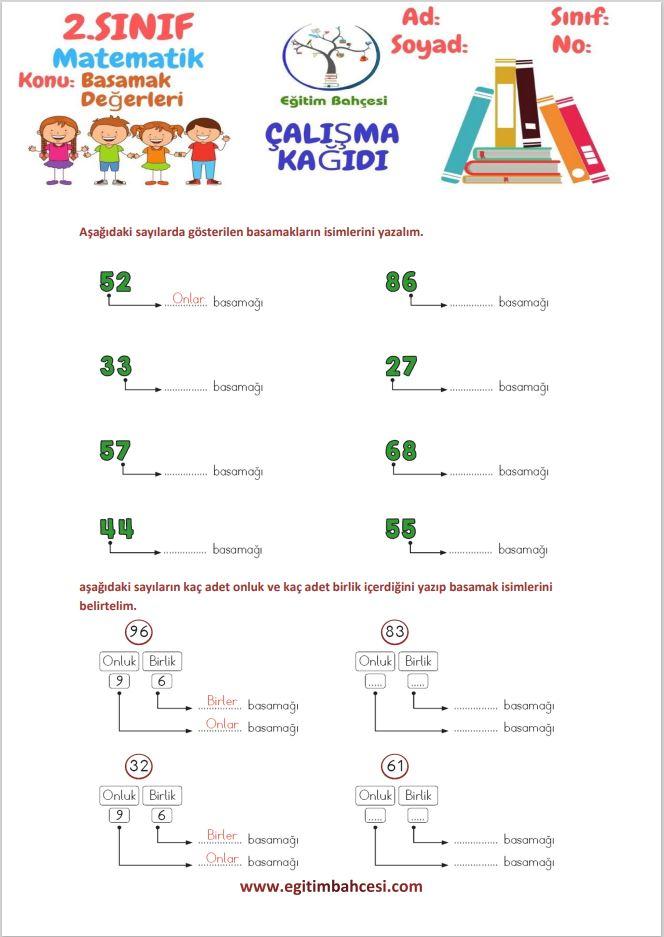 2.Sınıf Matematik Basamak Değerleri Etkinlikleri Örnek Sayfa