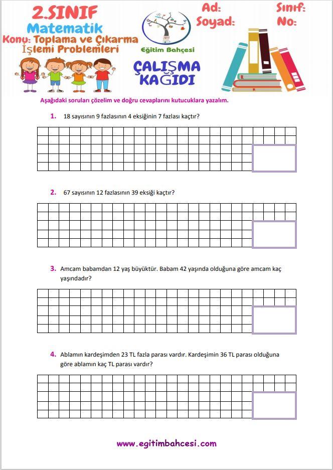 2.Sınıf Matematik Toplama ve Çıkarma İşlemi Problemleri Örnek Sayfa