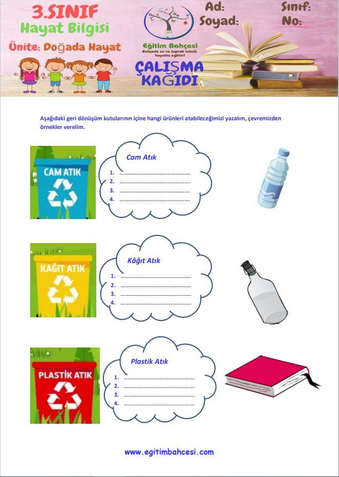 3.Sınıf Hayat Bilgisi Doğada Hayat Etkinlikleri Örnek Sayfa