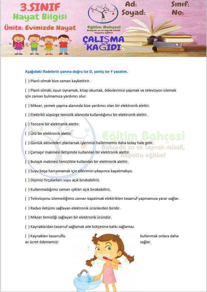 3.Sınıf Hayat Bilgisi Evimizde Hayat Etkinlikleri Örnek Sayfa