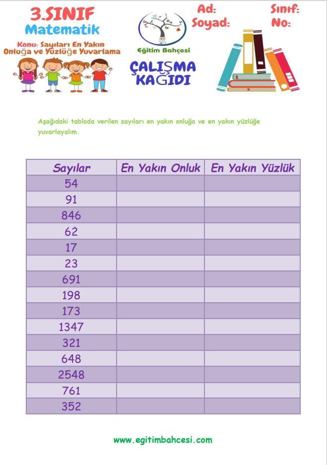 3.Sınıf Matematik En Yakın Onluğa ve Yüzlüğe Yuvarlama Etkinlikleri Örnek Sayfa