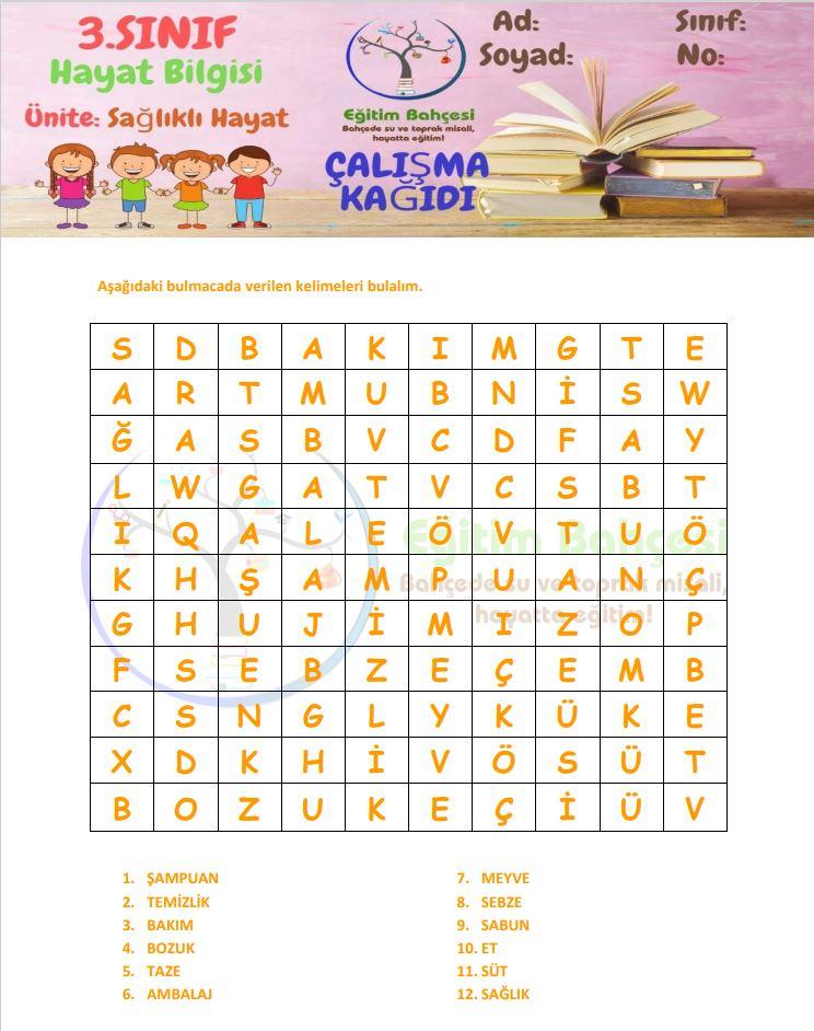 3.Sınıf Sağlıklı Hayat Etkinlikleri Örnek Sayfa