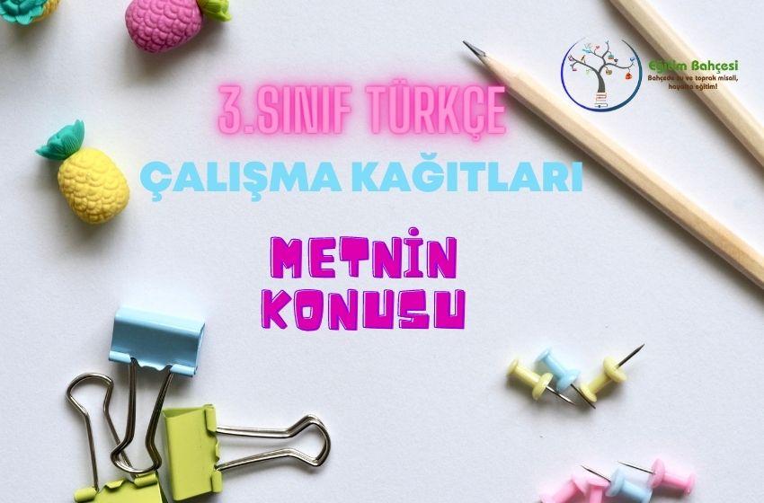 3.Sınıf Türkçe Metnin Konusu Çalışma Kağıtları