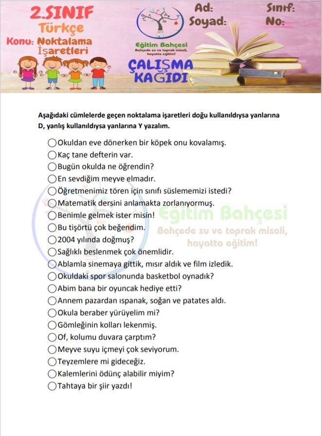 Noktalama İşaretleri Etkinlikleri Örnek Sayfa