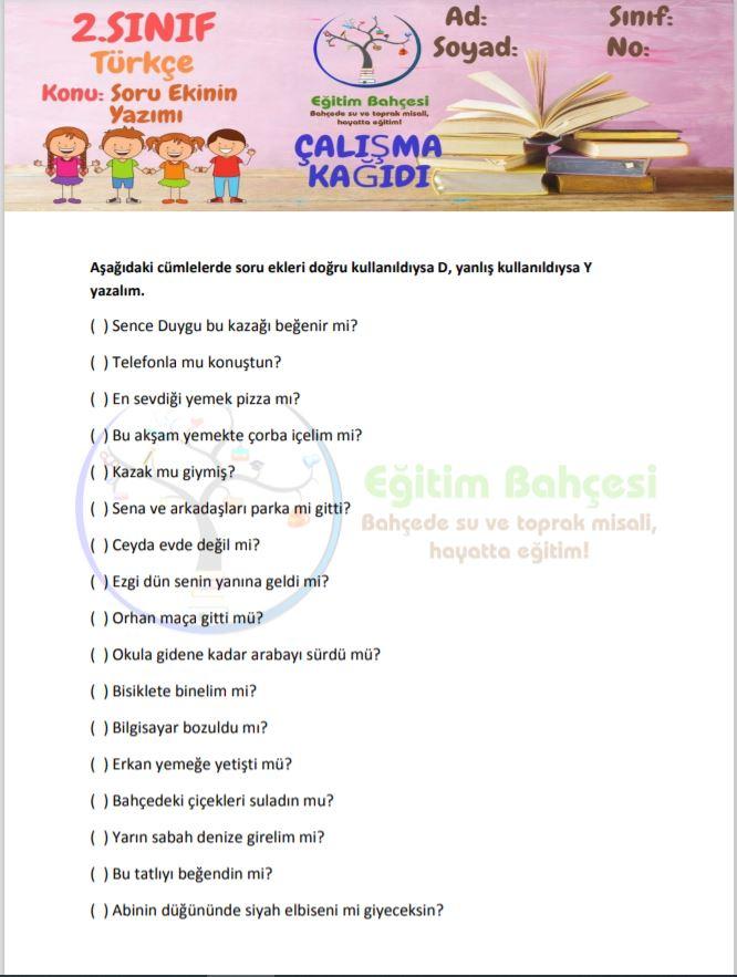 Soru Ekinin Yazımı Etkinlikleri Örnek Sayfa