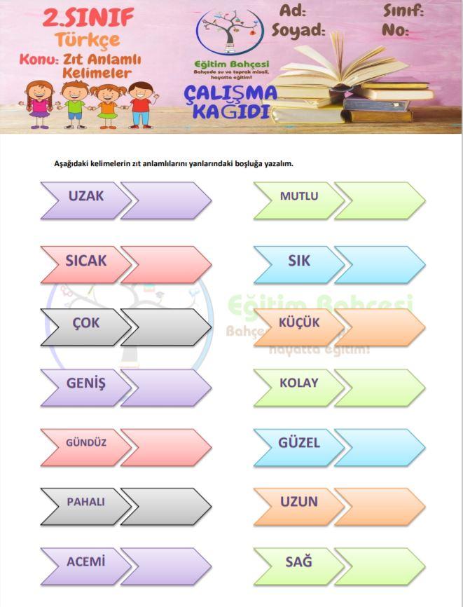 Zıt Anlamlı Kelimeler Örnek Sayfa