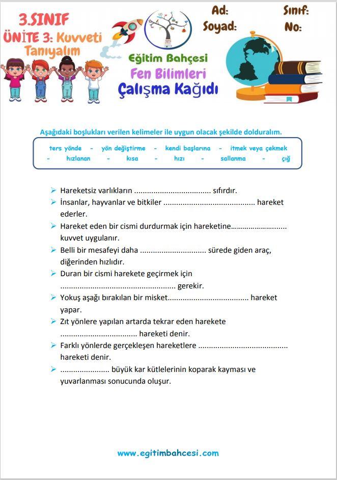3.Sınıf Fen Bilimleri Kuvveti Tanıyalım Etkinlikleri Örnek Sayfa