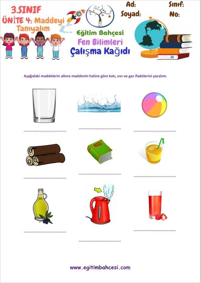 3.Sınıf Fen Bilimleri Maddeyi Tanıyalım Örnek Sayfa