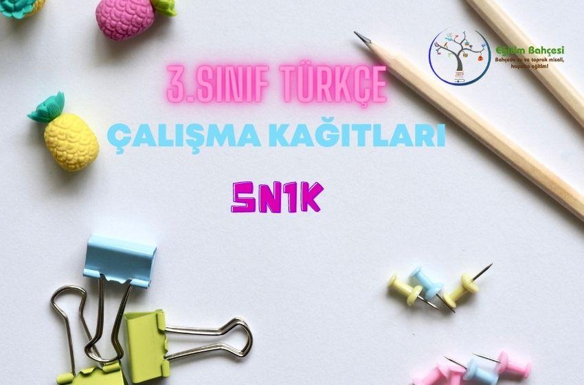 3.Sınıf Türkçe 5N1K Çalışma Kağıtları