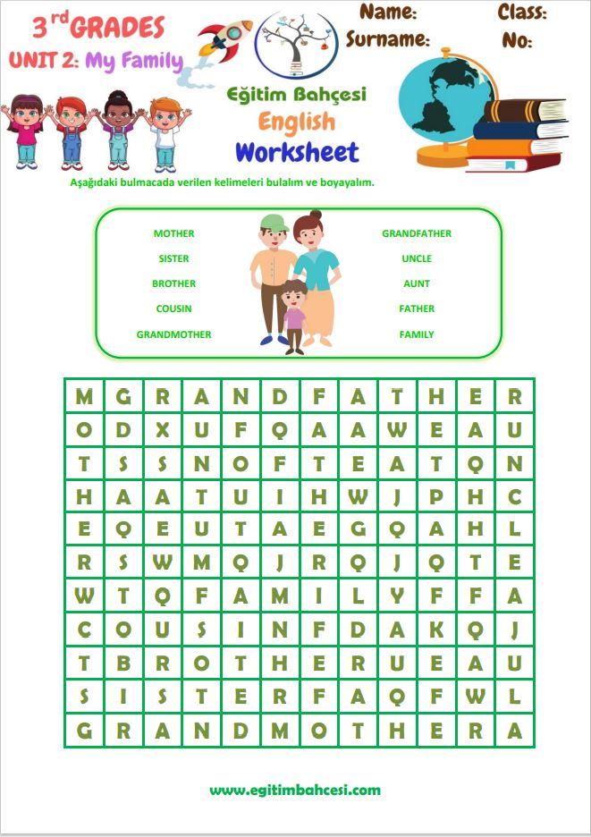 3.Sınıf İngilizce My Family Ünite Çalışmaları Örnek Sayfa