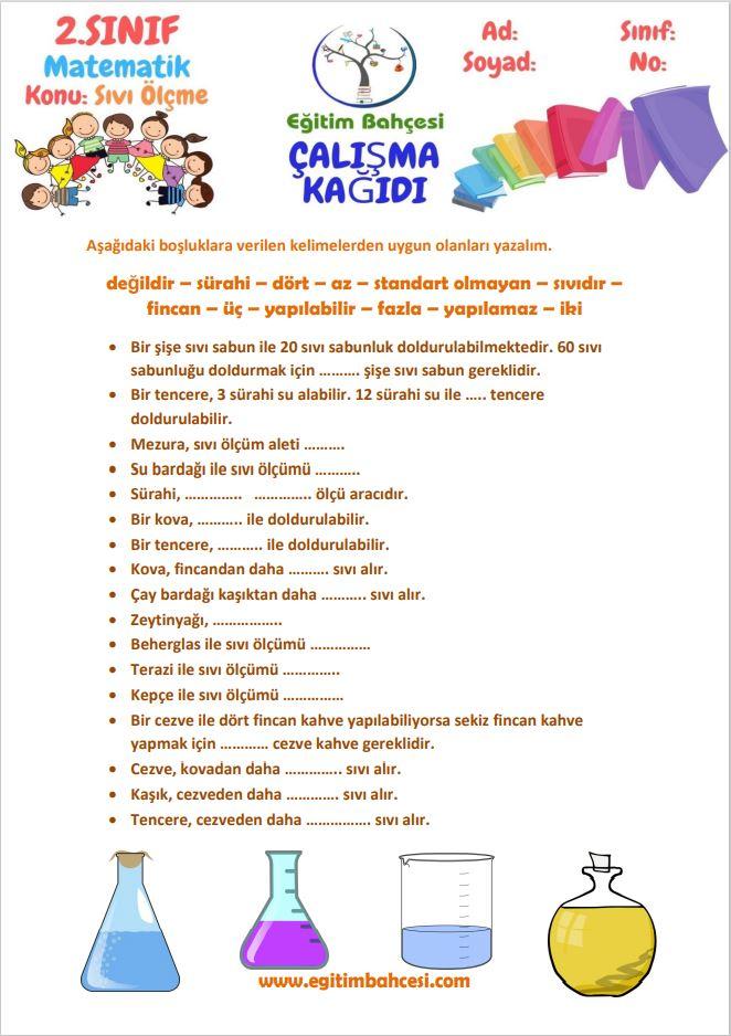 2.Sınıf Matematik Sıvı Ölçme Çalışma Kağıtları Örnek Sayfa