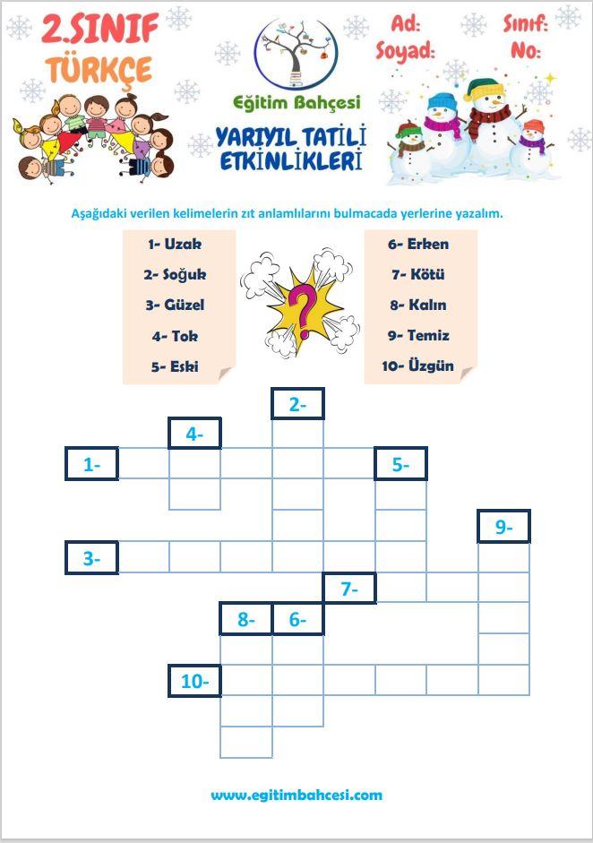 2.Sınıf Türkçe Yarıyıl Tatili Etkinlikleri Örnek Sayfa