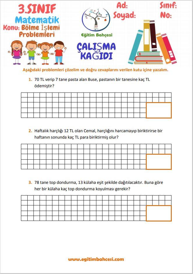 3.Sınıf Matematik Bölme İşlemi Problemleri Çalışma Kağıtları Örnek Sayfa