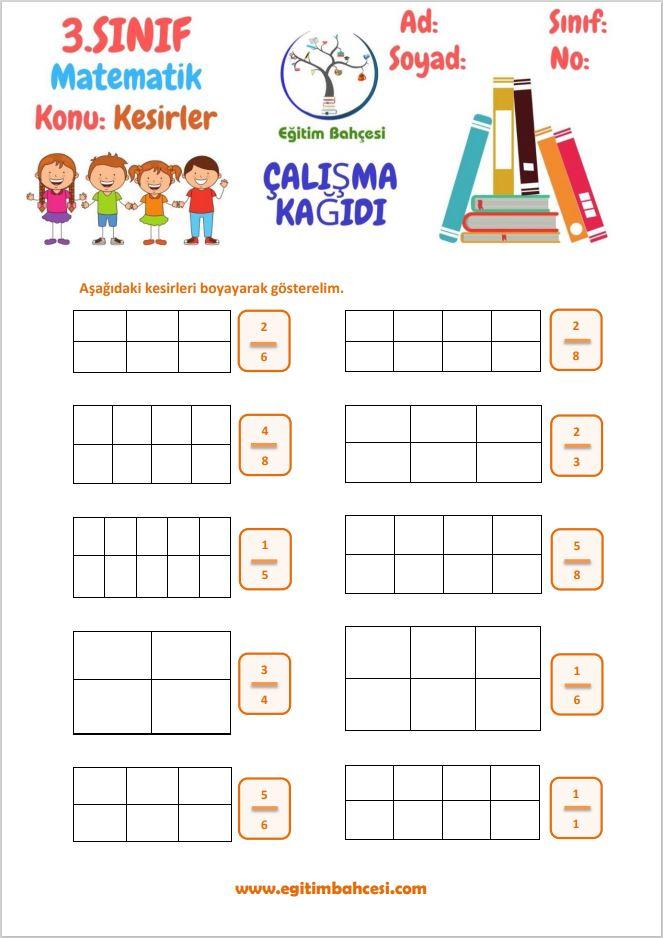 3.Sınıf Matematik Kesirler Çalışma Yaprakları Örnek Sayfa