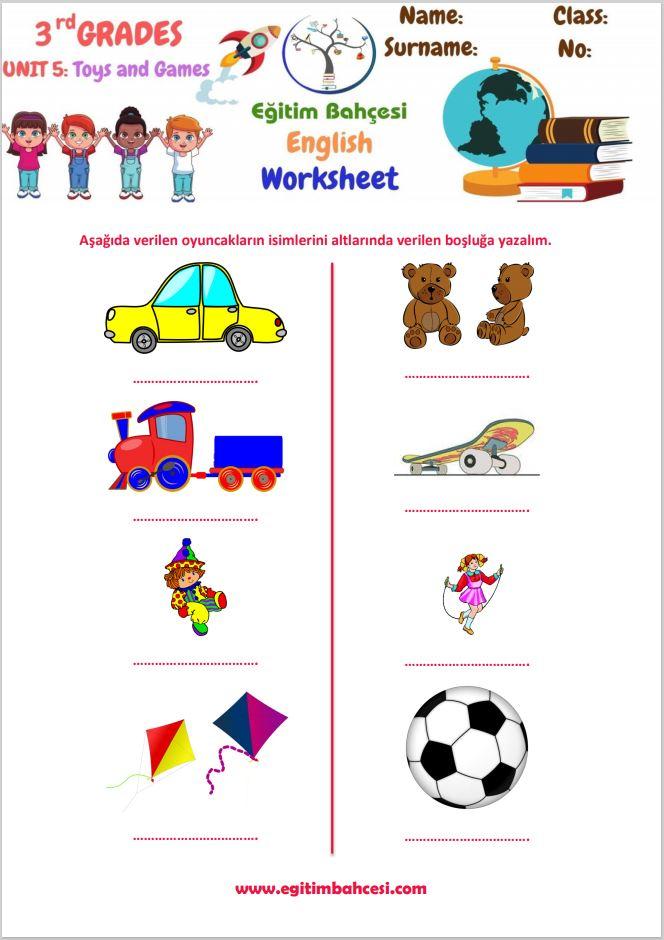 3.Sınıf İngilizce Toys And Games Çalışma Kağıtları Örnek Sayfa