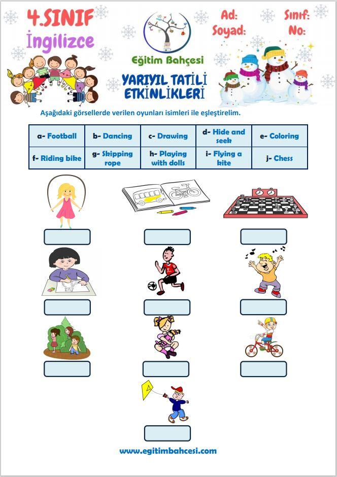 4.Sınıf İngilizce Yarıyıl Tatili Etkinlikleri Örnek Sayfa
