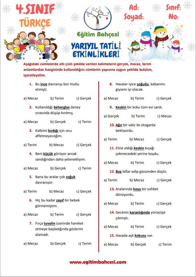 4.Sınıf Türkçe Yarıyıl Tatili Etkinlikleri Örnek Sayfa