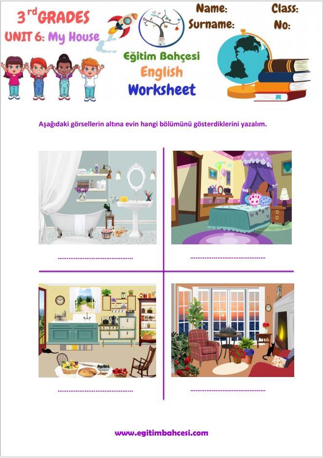 3.Sınıf İngilizce My House Çalışma Kağıtları Örnek Sayfa
