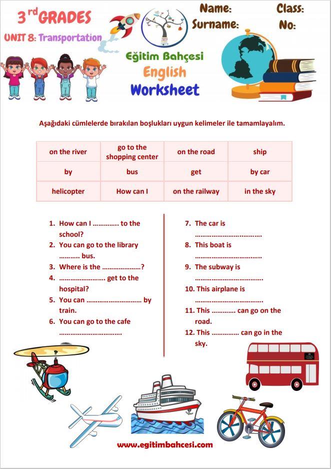 3.Sınıf İngilizce Transportation Çalışma Kağıtları Örnek Sayfa