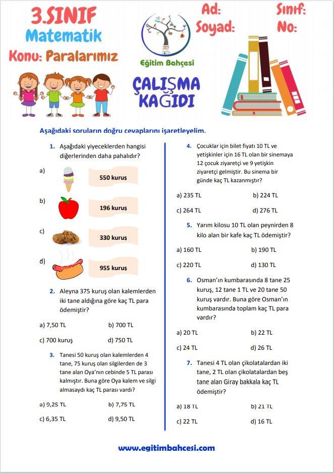 3.Sınıf Matematik Paralarımız Çalışma Kağıtları Örnek Sayfa