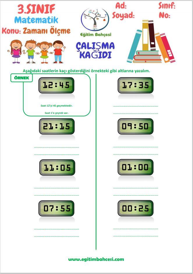 3.Sınıf Matematik Zamanı Ölçme Çalışma Kağıtları Örnek Sayfa