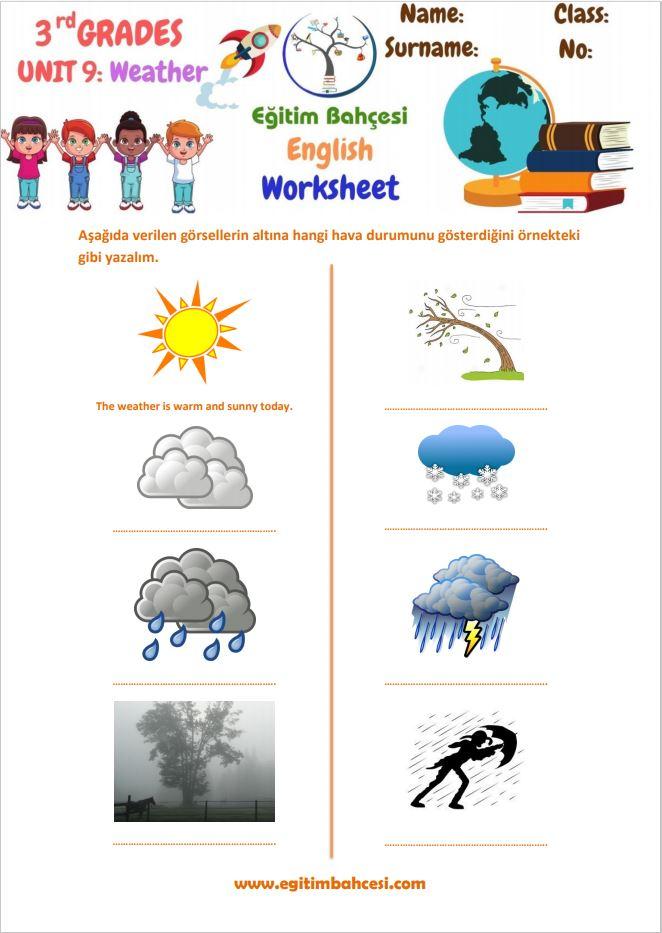 3.Sınıf İngilizce Weather Ünitesi Çalışma Kağıtları Örnek Sayfa
